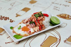 Rice topped with stirred  minced-pork ,squid ,basil and fried egg(sunny up) on brown tablecloth. Selective focus. Stock Image