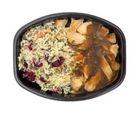 Rice With Turkey Gravy TV Dinner Top View Stock Image