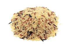Rice varieties for salads. Different types of rice mixed ideal for salads and isolated trimmed Royalty Free Stock Photo