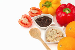 Rice varieties, wheat,black jasmin rice in white bowl Royalty Free Stock Photos