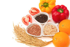 Rice varieties, wheat, brown rice, black jasmin rice Royalty Free Stock Image