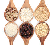 Rice Varieties. In wooden spoons over white background Stock Photos