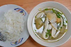 Rice and variety fish ball in soup Royalty Free Stock Image