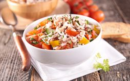 Rice and vegetable. On bowl Royalty Free Stock Image