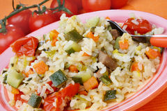 Rice with vegetable mix Stock Photography