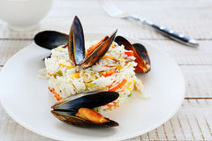 Rice with vegetable mix and mussels Royalty Free Stock Image