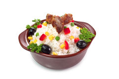 Rice with vegetables. Delicious rice with vegetables and meat Stock Images