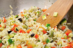 Rice and vegetables Stock Photography