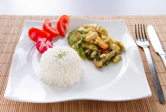 Rice with vegetables and chicken Stock Photography