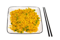 Rice with vegetables and chopsticks Royalty Free Stock Images