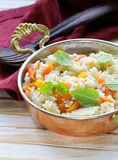 Rice with vegetables cooked in Indian style Royalty Free Stock Photos