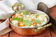 Rice with vegetables cooked in Indian style Royalty Free Stock Photo