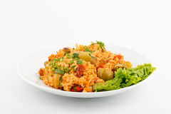 Rice with vegetables. Front View Selective Focus White background Stock Photography