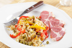 Rice with vegetables and ham Royalty Free Stock Image