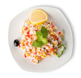 Rice with vegetables and lemon Royalty Free Stock Photo
