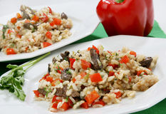 Rice with vegetables and liver Royalty Free Stock Images