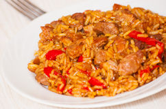 Rice with Vegetables and Meat Stock Photography