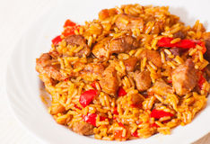 Rice with Vegetables and Meat Stock Photos