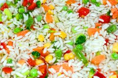 Rice & Vegetables. Mixing, dining. Rice with vegetables. Appetizing, healthy. Stock Images