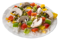 Rice with vegetables and mushrooms. On plate Royalty Free Stock Photography