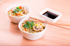Rice with vegetables and mushrooms with soy sauce Stock Images
