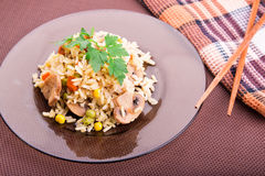 Rice with vegetables and mushrooms with soy sauce Royalty Free Stock Photo
