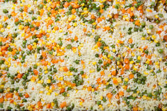 Rice with vegetables. peas, corn and carrots Stock Photo