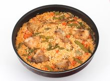 Rice, vegetables and Rabbit. Paella of rice, vegetables and Rabbit, spanish gastronomy royalty free stock photos