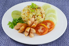 Rice with vegetables and sausages Royalty Free Stock Image