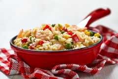 Rice with vegetables and shrimps Stock Image