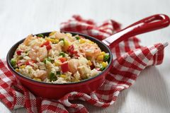 Rice with vegetables and shrimps Stock Images