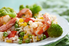 Rice with vegetables and shrimps Royalty Free Stock Photo