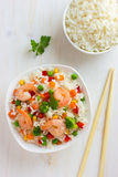 Rice with vegetables and shrimps Stock Photos