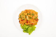 Rice with vegetables. Top View Selective Focus White background stock images