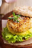 Rice and vegetables vegan burger stock photos