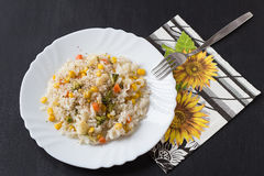 Rice with Vegetables. On a White Plate Stock Photography