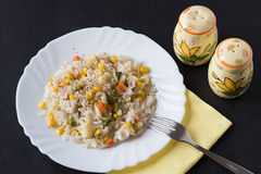 Rice with Vegetables. On a White Plate and Salt and Pepper Shakers Stock Photo