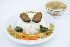 Rice with vegetarian and soup Stock Images