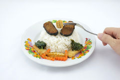 Rice with vegetarian. Vegetarianism helps keep the body healthy Stock Photo