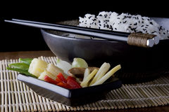 Rice and Vegtables 7. Rice and Vegtables on a plate with chopsticks. A health meal Royalty Free Stock Images