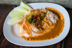 Rice vermicelli with curry sauce Stock Photography