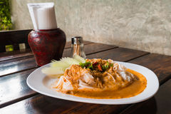 Rice vermicelli with curry sauce Stock Photo