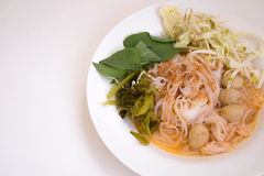 Rice Vermicelli With Curry Sauce. On white back ground Royalty Free Stock Images