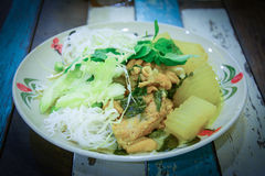 Rice vermicelli eaten with green curry ,Thai food Royalty Free Stock Photo