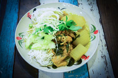 Rice vermicelli eaten with green curry ,Thai food Royalty Free Stock Image