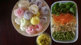 Rice-vermicelli. Food lunch vegetable at-AmphoeLomKao Thailand royalty free stock photo