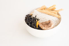 Rice vermicelli, instant noodle with dried shiitake, dried seawe Royalty Free Stock Images
