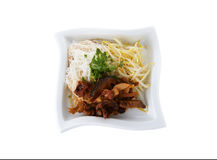 Rice vermicelli noodle with brown sauce and bean sprout in bowl Stock Photo