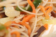 Rice vermicelli stir-fried with vegetables mix. Stock Photography