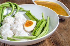 Rice vermicelli are thin noodles made from rice and are a form of rice noodles Stock Photo